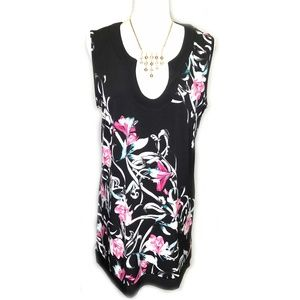 White House Black Market Pink Floral Tunic Top XL